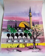 Israeli Art Judaica David's Tower Original Watercolor -L Lalum 27x 19 1/2