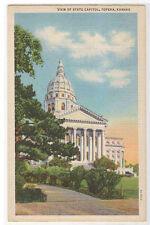 State Capitol Topeka Kansas 1942 linen postcard