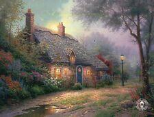 Moonlight Cottage --- House, Street Lantern --- Thomas Kinkade Dealer Postcard