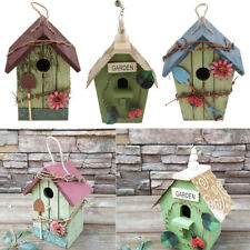 3 x RUSTIC COUNTRY WOODEN DECORATIVE HANGING BIRDHOUSE GARDEN B+D+E