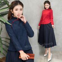 Ethnic Women's Chinese Cheongsam Top Long Sleeve Tangzhuang Blouse Shirts Retro
