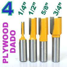 "4pcs 1/2"" Shank Undersized Dado for Plywood 1/4, 1/2, 5/8, 3/4 Router Bit Set"