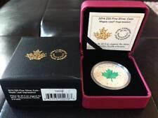 """CANADA 2014 - $20 1oz Silver Coin - Maple Leaf Impression """"Green"""""""