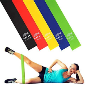 RESISTANCE BANDS Loop Exercise Sports Fitness Home Gym Yoga Latex Set of 5