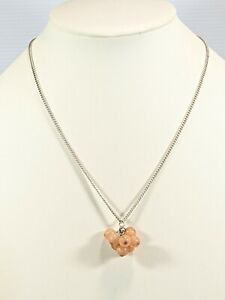 Avon SAQ Silver Tone Pink Peach Acrylic Cluster Ball Charm Necklace 22 Inches