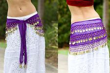 Belly Dance Purple Coin Belt Chiffon Hip Scarf Wrap Bollywood Money Belt