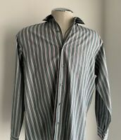 Lacoste Men's Long Sleeve Button Down Shirt Size 44 Stripes.#D4