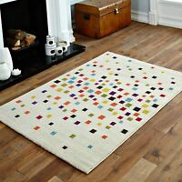 MODERN LARGE, SMALL QUALITY WHITE CREAM MULTI COLOURED PIXEL SOFT RUG FOR SALE
