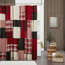 SUNSET SHOWER CURTAIN : 100% COTTON RED BUFFALO CHECK PLAID LODGE CABIN