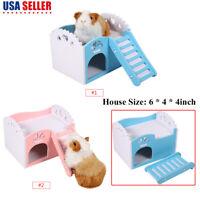 House Bed Cage Nest Small Animal Pet Hamster Hedgehog Guinea Pig Castle W/Slide