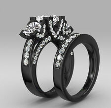 Fashion White topaz Black Gold Filled  Wedding Bridal 6.2ct Ring Gift Size 10