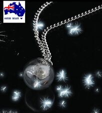 Make A Wish Dandelion Fairy Seed Glass Orb Pendant Necklace Sliver Chain GT