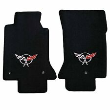 1997-2004 C5 Corvette Black Ebony Front Floor Mats w/ Silver Crossed Flags Logo