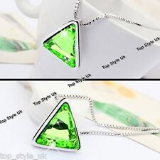 Peridot Green Love Triangle Crystal Silver Necklace Mum Gifts for Her Women G7