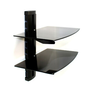 Tempered Black Glass Floating Shelf Wall Mount Consoles/DVD players M&W