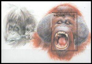 Angola 2000 MNH MS, Orangotango, Monkeys, Wild Animals
