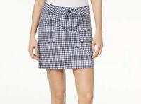 NWT LEE Platinum Label Straight Fit Mid Rise Blue Plaid Checkered Skort Skirt 12