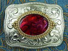 NUOVO realizzato a mano Argento in Metallo Cintura Fibbia Rosso Abalone Western Cowboy Goth