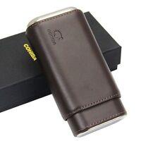 Cohiba Genuine Leather Cedar Wood Cigar Case 3 Count Travel Holder