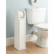 Bathroom Toilet Paper Roll Holder Floor Standing Storage Cabinet White Wooden
