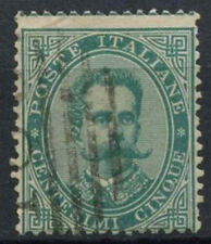 Italy 1879-82 SG#31, 5c Green Perf Shift Error Used #D8782
