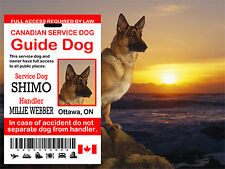 Canadian, Service Dog Guide Dog Id Card, Guide Dog, Service Dog ID Tag