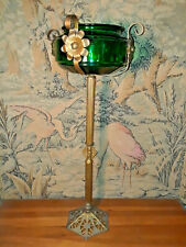 1920s Art Deco Egyptian Revival Iron Emerald Green Glass Fishbowl Stand