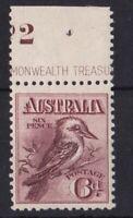 APD501) Australia 1913 6d Claret Kookaburra. Very fresh mint unhinged