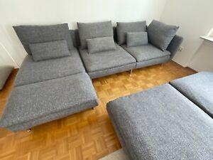 Ikea Söderhamn 3er Sofa, grau/ schwarz, Eckelement mit Recamiere und 2 Hockern