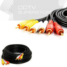 25FT 3-RCA (L + R + V) Composite AV Audio Video Cable Gold Plated Male M/M 25'