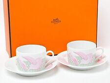 Hermes Porcelain PIVOINES ROSE Tea Cup Saucer Tableware Ornament Interior Rare