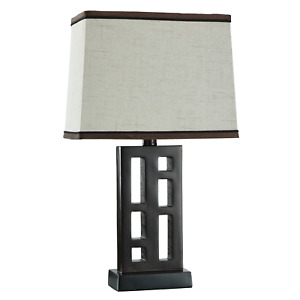 Better Homes & Gardens Open Works Lamp with Shade, Walnut