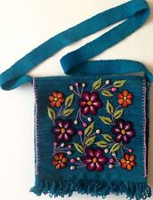 Peru Andean Hand Embroidered Loomed Wool Colorful Floral Messenger Shoulder Bag