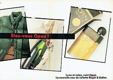 Publicité Advertising 087  1985   eau toilette Open (2p) Roger & Gallet