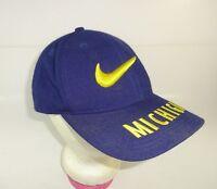 VTG 90s Nike Team Sports MICHIGAN WOLVERINES Snapback Hat 3D Swoosh Logo RARE