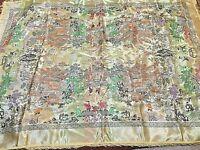 "Vtg Asian Oriental  Brocade Tapestry Children Playing Garden Pagoda Trees 52x76"""