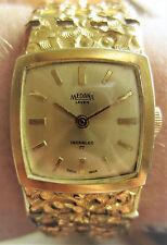 Reloj de pulsera Excelente Suizo Enchapado En Oro De 1970s señoras Medana 17 Joyas