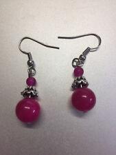 pink Tibet Silber 1 cm Baumel Haken Ohrringe passend für Kleid, Damen