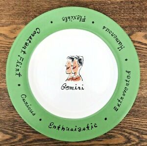 Pottery Barn What's Your Sign? Dessert Salad Plate Traits Gemini Green