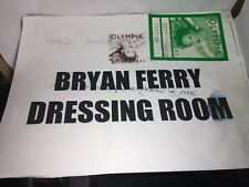 "Bryan Ferry ""Back Stage Pass"" & Dressing Room Sign from Cleveland (Roxy Music)"