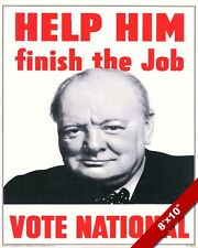 WINSTON CHURCHILL NATIONAL CAMPAIGN POSTER UK PAINTING ART REAL CANVAS PRINT WW2