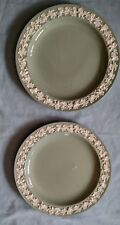 """Wedgwood Etruria & Barlaston Queen's Ware Two 10"""" Plates - White on Green"""