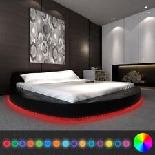 vidaXL Bett Doppelbett mit Matratze und LED 180x200 cm Rund Kunstleder Schwarz