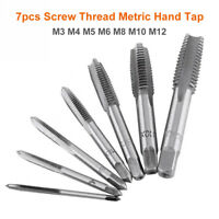 7x M3/M4/M5/M6/M8/M10/M12 HSS Hand Screw Machine Thread Straight Metric Plug Tap