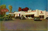 Vtg Chrome Postcard Panguitch Utah UT Flying M Cafe Sinclair Sign Cars UNP