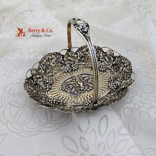 Ornate Grape Swing Handle Basket Cupid Bow Arrow Sterling Silver 1900