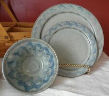 Signed Sandra O'Quinn Pottery Dinnerware 2000 Dinner and Salad Plate with Bowl