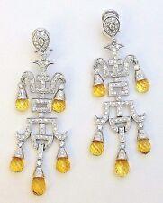 18k White Gold Diamond and Citrine Earrings 2.00 ctw Diamond Dangle Earrings