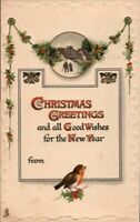 Antique Christmas Postcard Tuck's Bird Holly Emb Detailed Fancy Sharp Color 1912