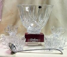 GORHAM CRYSTAL LADY ANNE PUNCH BOWL 12 CUPS & LADLE *NEW*